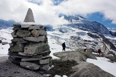 Stoneman and beautiful glacial mountains Stock Image