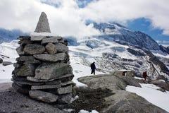 Stoneman and beautiful glacial mountains Stock Image