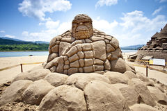 Stoneman sand sculpture Royalty Free Stock Images