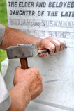 Stonemason Engraving Marble Gravestone Stock Photography