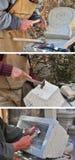 Stonemason. Hands detail of craftsman at work Royalty Free Stock Photography