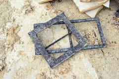 Stonemason instruments to create paving stones. Limestone. Solnhofen Royalty Free Stock Photography