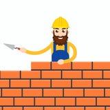 Stonemason, masonry character icon. Vector illustration Royalty Free Stock Photography