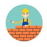 Stonemason, masonry character icon. Vector illustration Royalty Free Stock Image