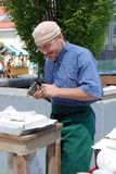 Stonemason, satisfied with his work Royalty Free Stock Photos