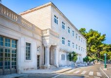 Stonemason school in Pucisca, Brac. Famous building in small mediterranean town Pucisca, Island Brac, Croatia Royalty Free Stock Photo
