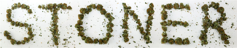 Stoner soletrado com marijuana Foto de Stock Royalty Free