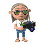 stoneren för hippien 3d har en ny kamera som spelar med Royaltyfria Bilder
