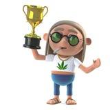 stoneren för hippien 3d segrar den guld- kopptrofén Royaltyfri Bild