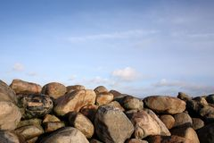 Stones at the Øresund at Kronborg Castle Royalty Free Stock Photos