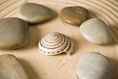 Stones. Adn seashell on brown sand Stock Photos