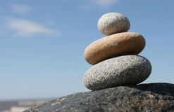 Stones. Stone stack against the blue sky Royalty Free Stock Photo