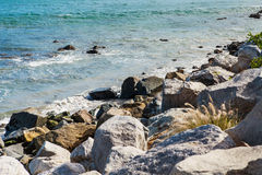 Stones along the rugged coast pacific ocean Royalty Free Stock Image