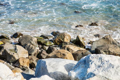 Stones along the rugged coast pacific ocean. In summer day Stock Images
