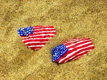 Stones with American flag. At Silver Sands State Park in Milford Connecticut Stock Image