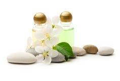 Stones And Shampoo Bottles Royalty Free Stock Photos