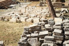 Stones on The Area Sacra dell`Argentina. Stones - construction material on archaeological site with four temples The Area Sacra dell`Argentina in Rome, Italy Royalty Free Stock Photo