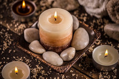Stones and aromatic candles Stock Photo