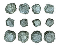 Stones asteroids illustration. 3d render pieces of stones or asteroids illustration Stock Image