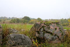Stones in autumn landscape Royalty Free Stock Image