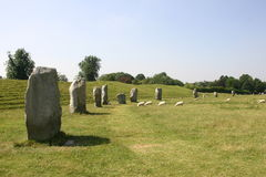 Avebury Stone Circle. Standing stones at the Avebury stone circle in Wiltshire Stock Images