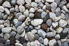 Stones background. A close up view of smooth polished multicolored stones washed ashore on the beach Royalty Free Stock Photo