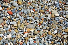 Stones background in gray, brown, orange and yellow hues. Stones of various shapes and forms, background, Tyrrhenian sea, in Livorno, Salivoli Tuscany, Italy royalty free stock images