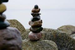 Stones balance artwork by the sea-2 stock photos