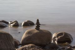 Stones Balance on a Background of Sea. stock images