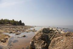 Stones balance on the beach. Place on Latvian coasts called Veczemju klintis stock images