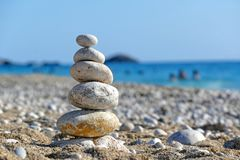 Stones balance on beach Royalty Free Stock Images