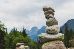 Stones balance, inspiring stability concept on rocks in mountain stock images