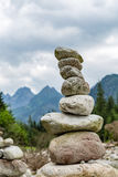 Stones balance, inspiring stability concept on rocks in mountain Stock Image