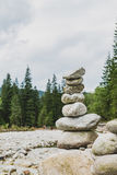 Stones balance, inspiring stability concept on rocks in mountain Stock Photo