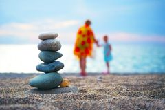Stones balance and wellness spa concept. Close-up of pebbles sta. Stones balance and wellness spa concept, inspiration, zen-like and well being tranquil Royalty Free Stock Image