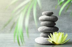 Stones balance, yellow flower lotus and green palm leaf. Spa concept. Stones balance, yellow flower lotus and green palm leaf. Zen and spa concept royalty free stock image