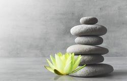 Stones balance. Zen and spa concept. Stones balance and white flower lotus. Zen and spa concept stock photo
