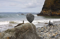 Stones balanced on a pebble beach. Textured stones balanced on a pebble beach royalty free stock photos