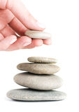 Stones in balanced pile. On white Royalty Free Stock Photo