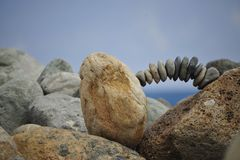 Stones balancing. On the rocks Stock Image