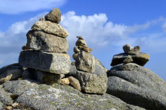 Stones balancing on top of Foia the highest mountain of Algarve Stock Photography