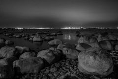 Stones on Baltic sea coast. Black and white. Stones on Baltic sea coast Stock Photography