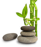 Stones and bamboo. On white background Stock Photo