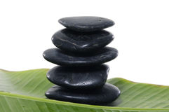 stones with  banana leaf Stock Photography