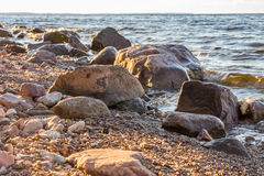 Stones on the bank of the river, summer day. Volga landscape Stock Images