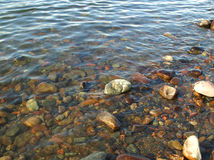 Stones on the bank of the river Yenisei Royalty Free Stock Photography