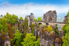 Stones and Bastei bridge in Sachsische Schweiz Stock Image