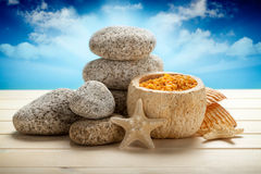 Stones, bath salt and shells Royalty Free Stock Photo