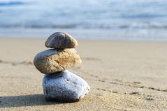 Stones on the beach. Pile of colored stones on the beach Stock Photography