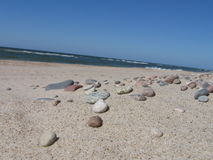 Stones on beach. Baltic sea - beach in jaroslawiec Stock Photo